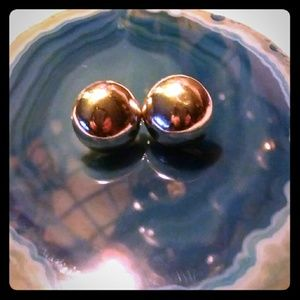 VTG- 925-Sterling Silver Button Dome Earrings
